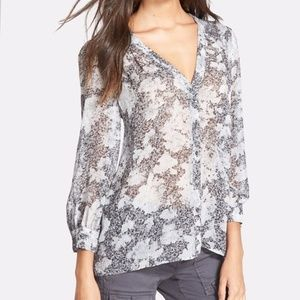 Joie Cordia 100% Silk Sheer Button Up Blouse